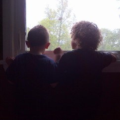 cousins sharing the view from upstairs (may 2013)