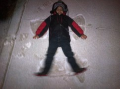 sidewalk snow angel in the making
