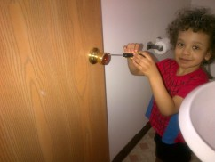 help mommy tighten the door knob