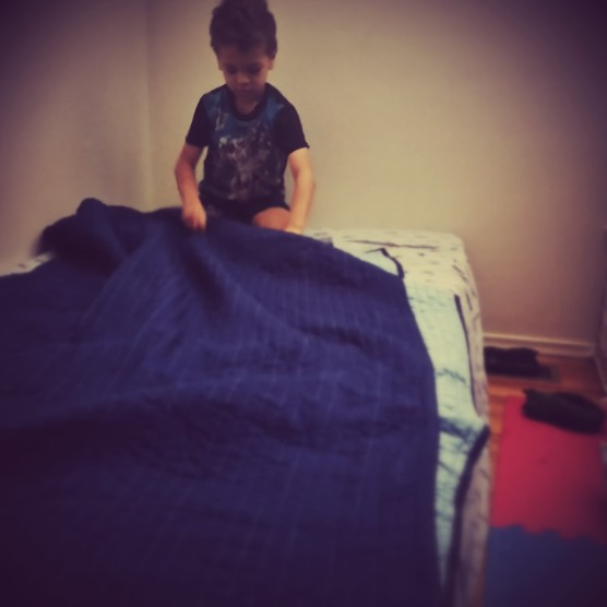 #milestones: k makes his bed