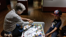 stringing beads @ bowdoin's artic museum